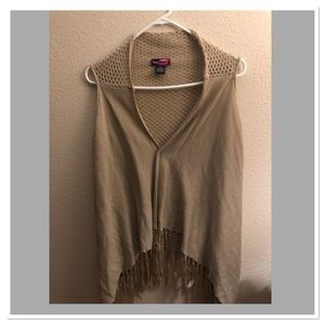 🧥Crocheted Tan Flowing Sweater Vest with fringe